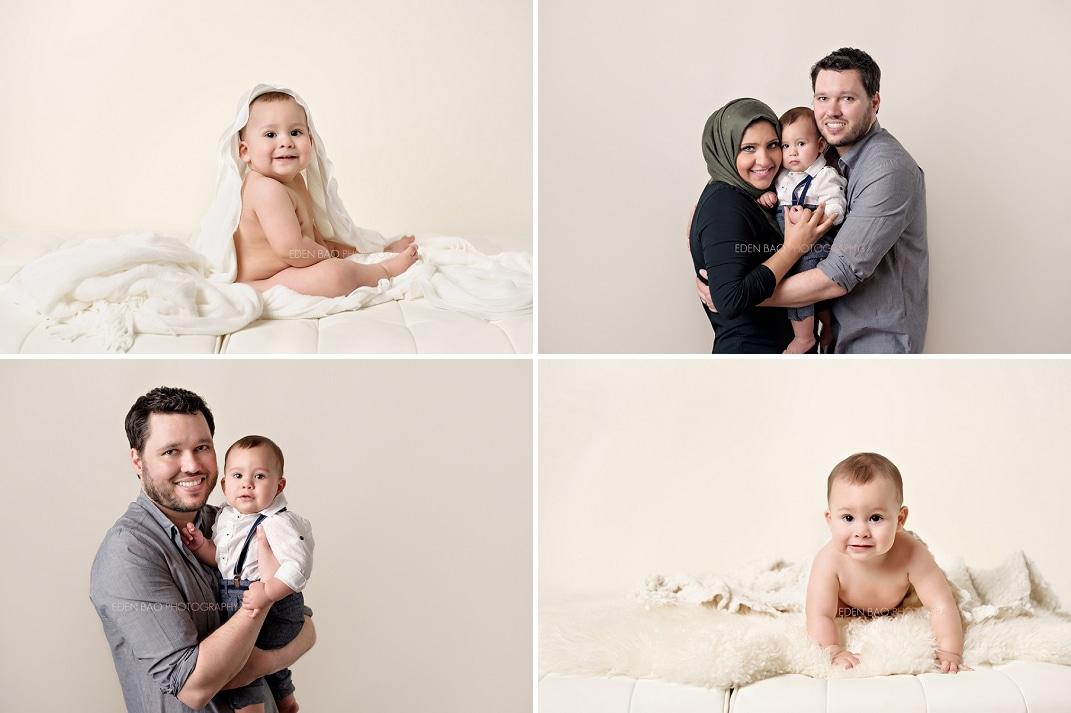 Baby Photographer Seattle cream background studio