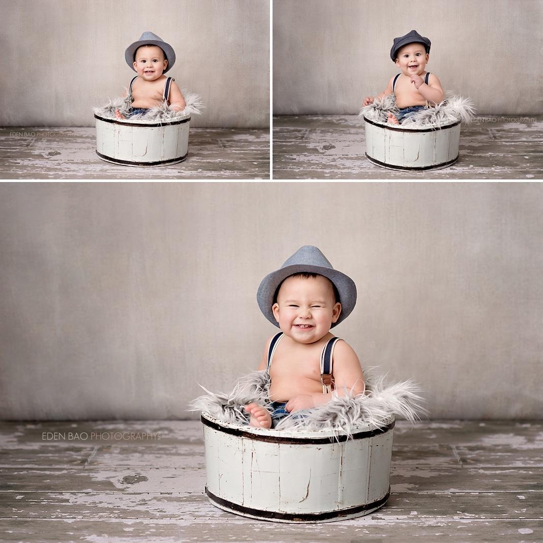 Baby Photographer Seattle grey wall studio 2