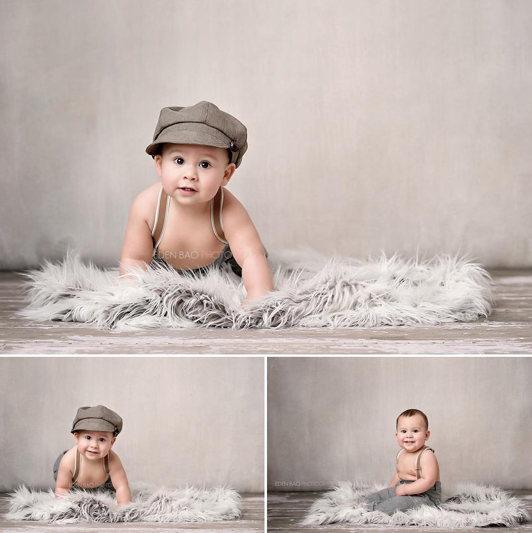 Baby Photographer Seattle grey wall studio