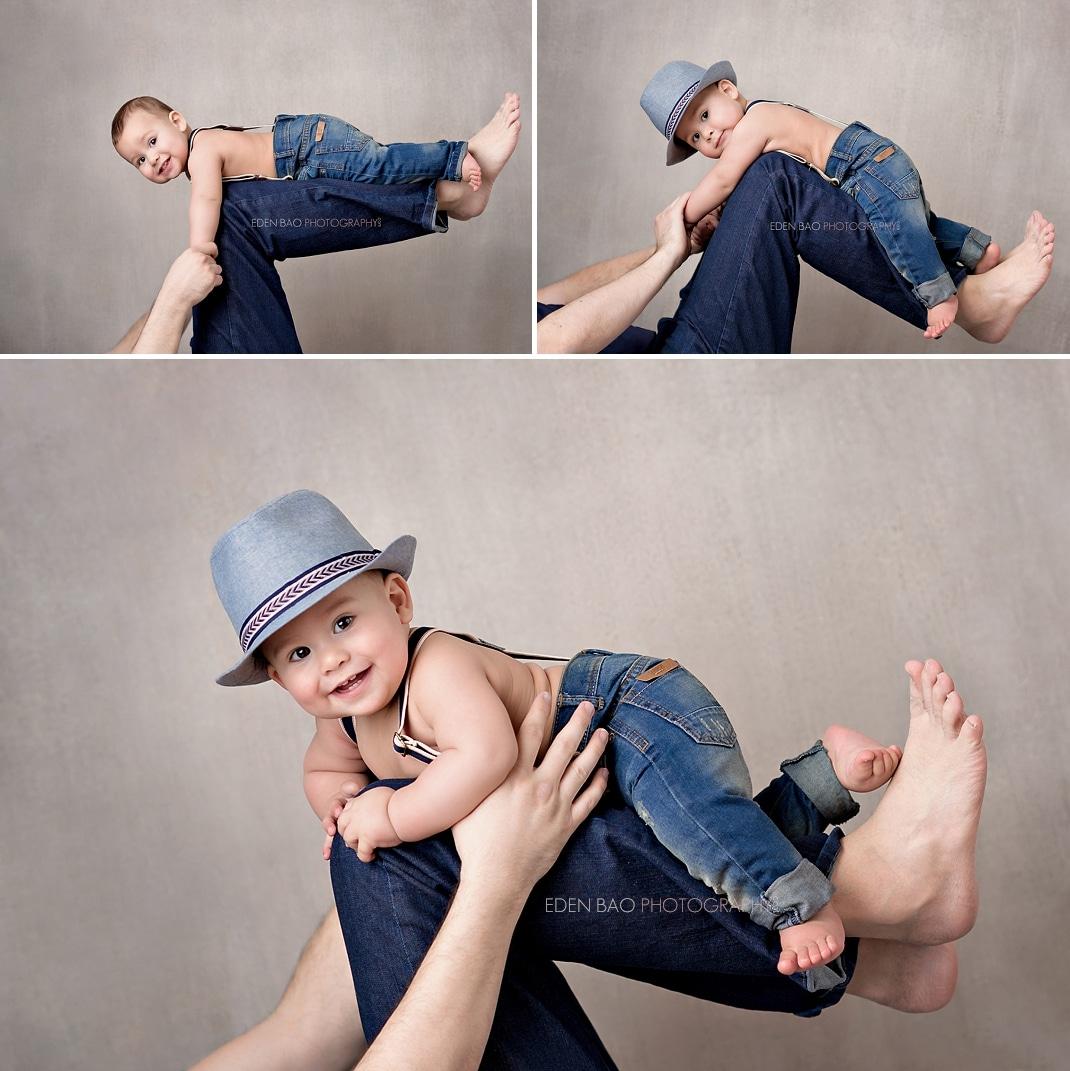 Baby Photographer Seattle on dad legs studio