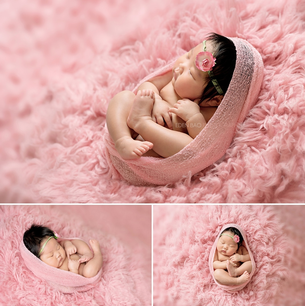Newborn Photographer Bothell pink shaggy rug
