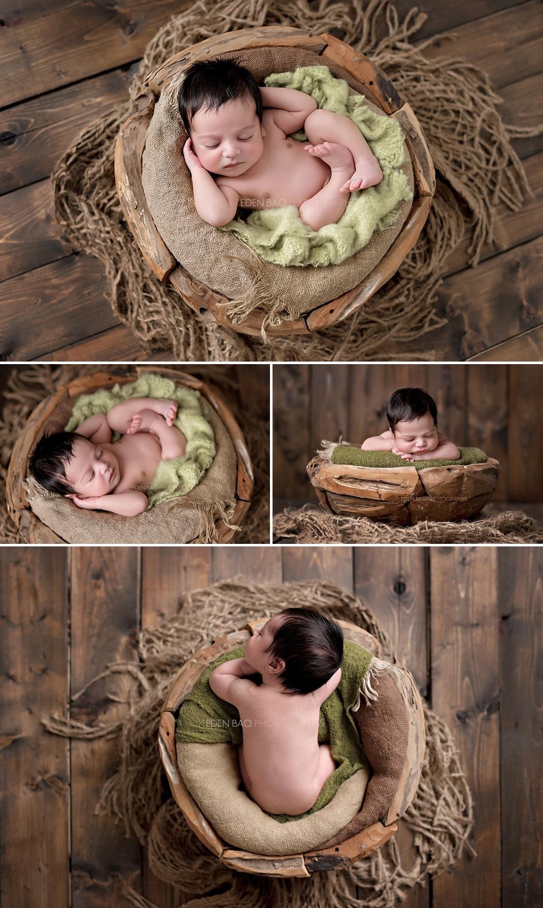 Newborn Photographer Niam wooden bowl earthy