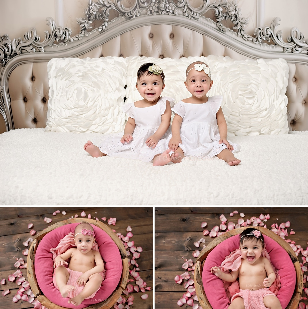 Everett Baby Photographer Twins fancy headboard