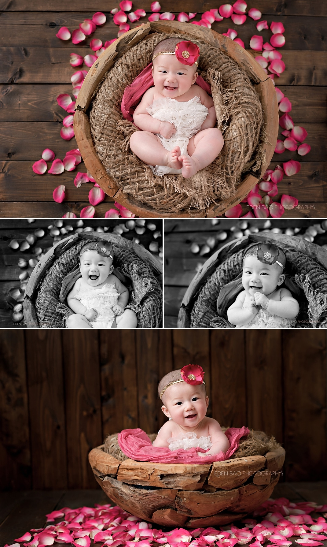 100 days Baby Photographer Bothell rustic set