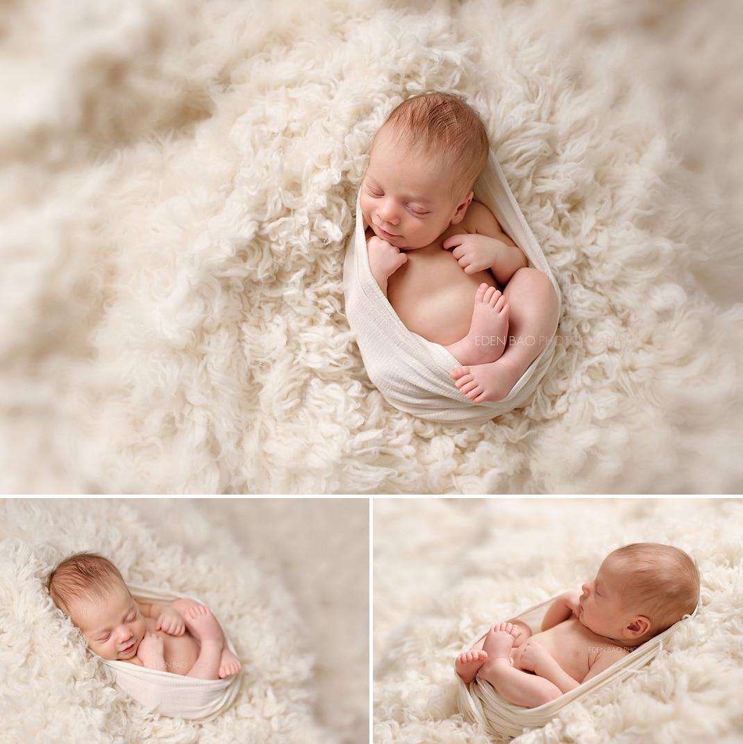Edmonds Newborn Photographer cream shaggy blanket