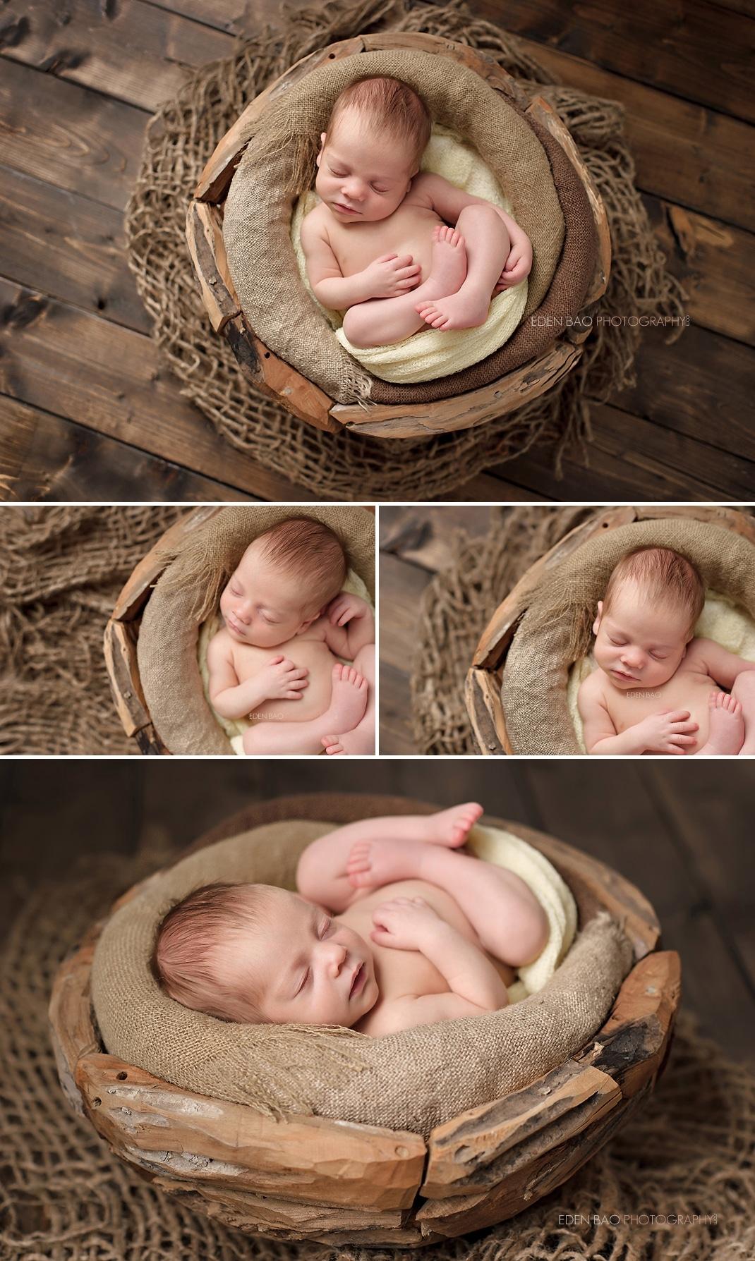 Edmonds Newborn Photographer earthy wooden bowl