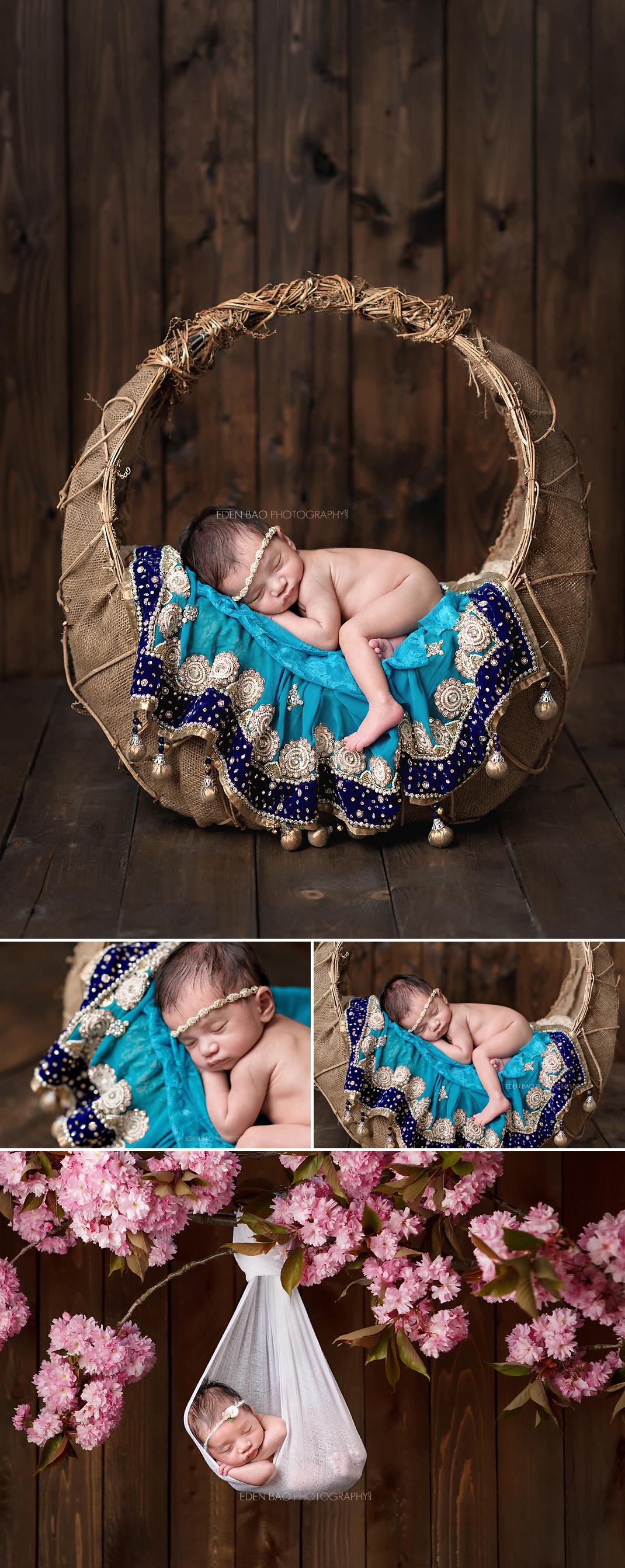 Kirkland WA Newborn Photographer teal blue saree lengha