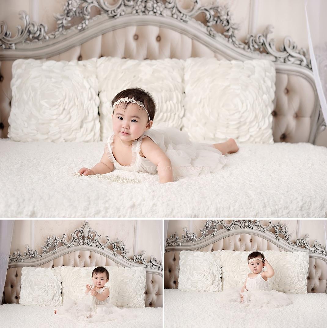 Baby Photographers Seattle 1 year portraits elegant headboard