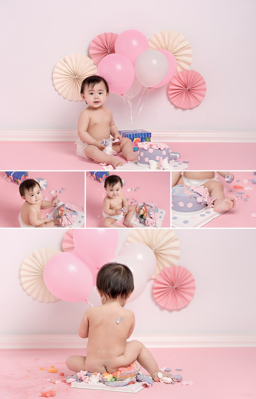 Baby Photographers Seattle 1 year portraits smash cake pink purple