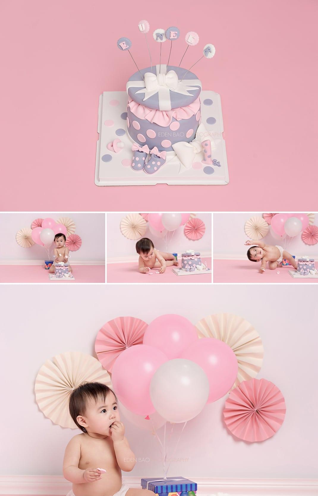 Baby Photographers Seattle 1 year portraits smash cake pink