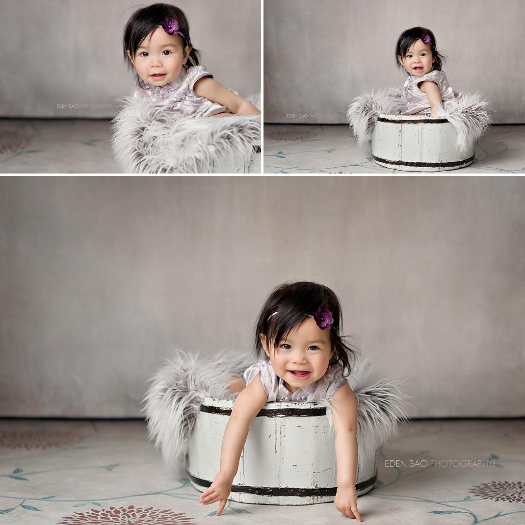 Mill Creek Baby Photographer white wooden bucket