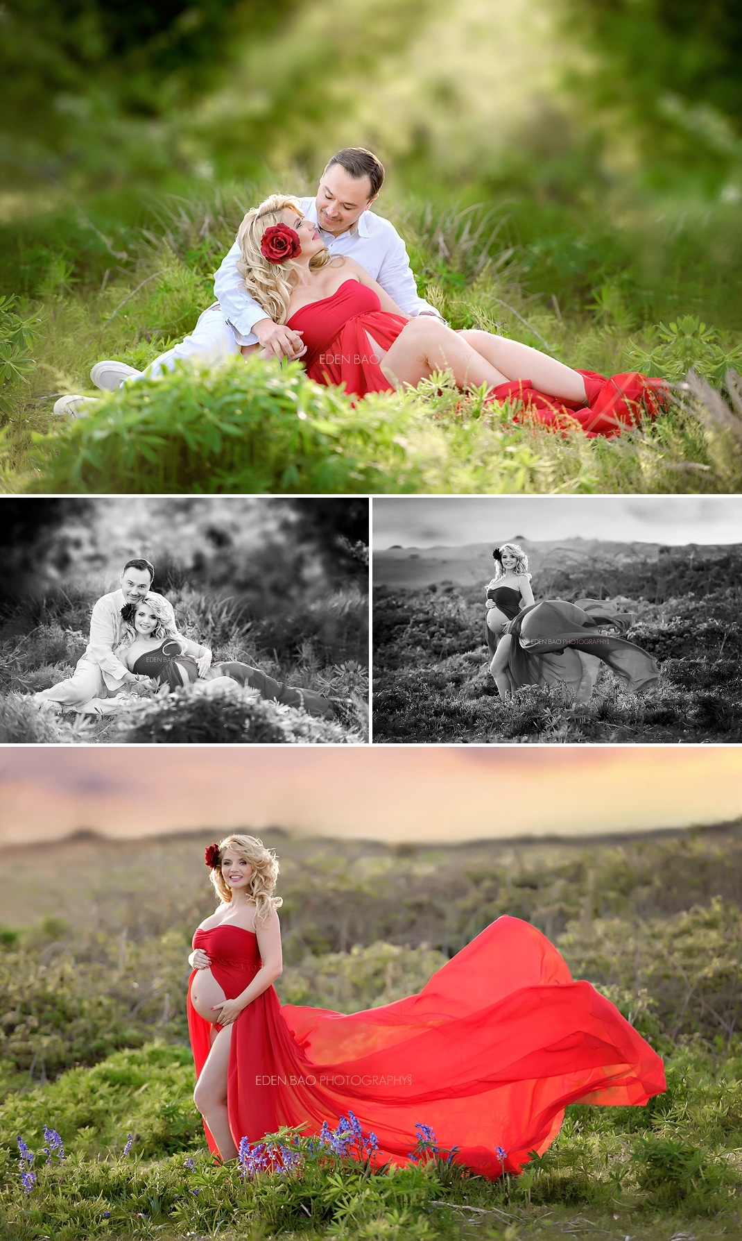 Beach Maternity Photography Seattle red dress