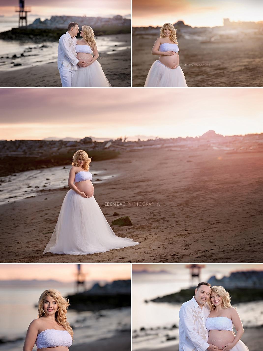 Beach Maternity Photography Seattle white tutu