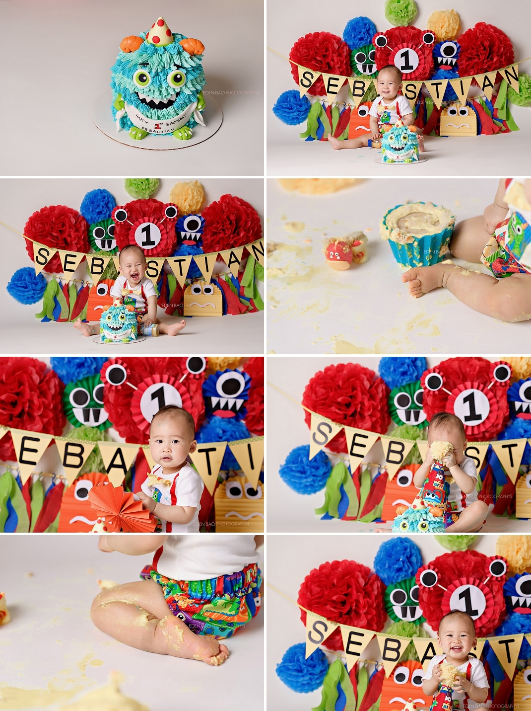 Baby Pictures Seattle cake smash monster theme