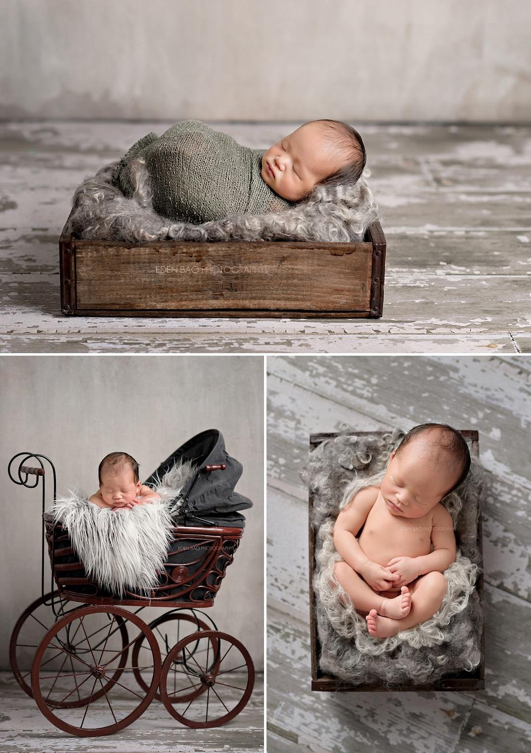Seattle Newborn Photographer vintage baby carriage