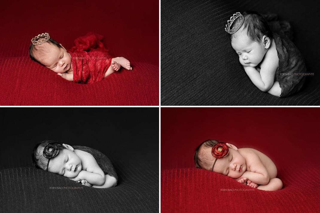Newborn Photography Seattle Eden Bao red backdrop