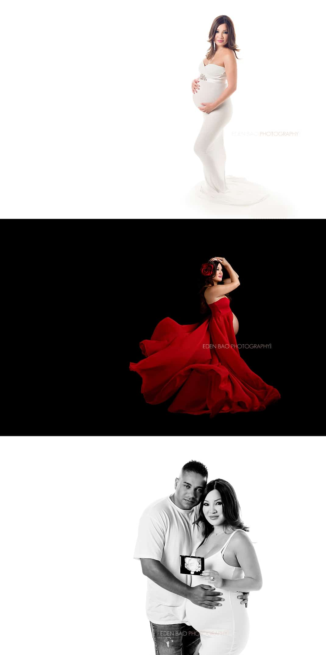 Seattle maternity photography red dress