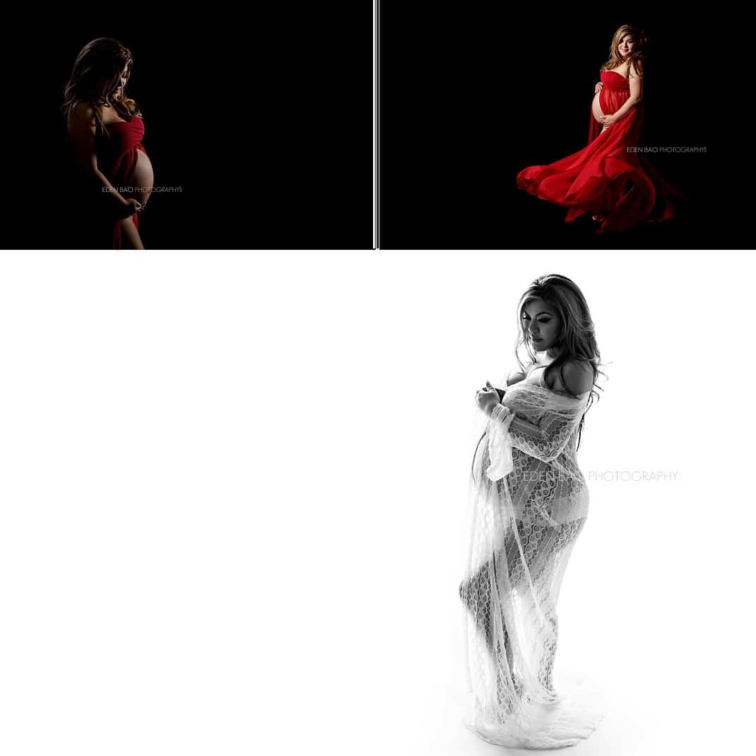 Bellevue maternity photographer Eden Bao red dress white robe