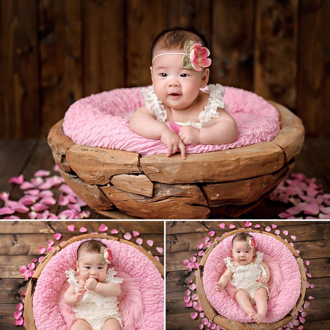 Seattle Baby Photographer Eden Bao Zoie pink wood bowl