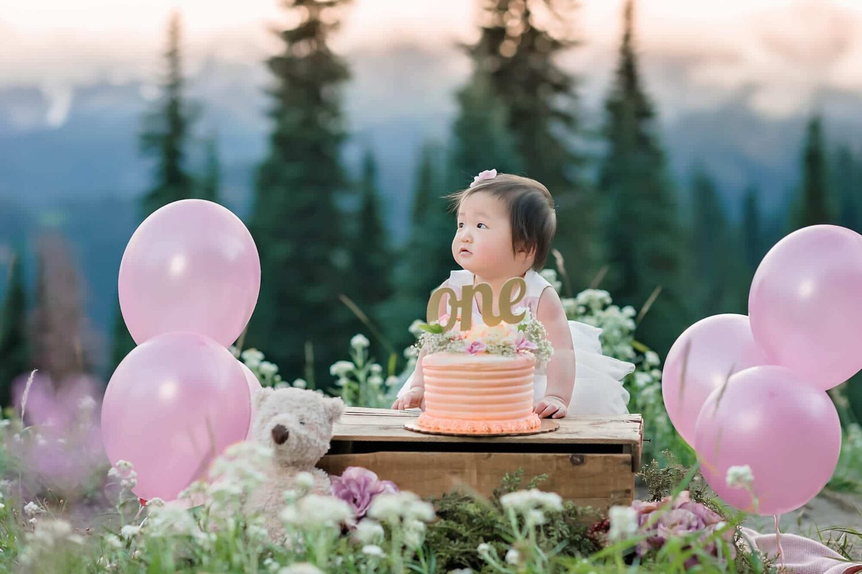 Rainier baby photographer cake smash