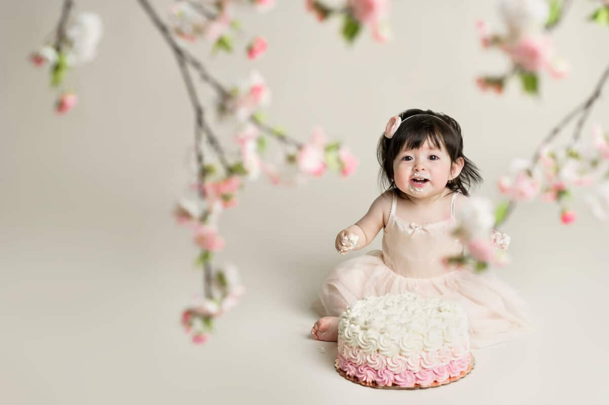 Woodineville Baby Photographer cherry blossom cake smash