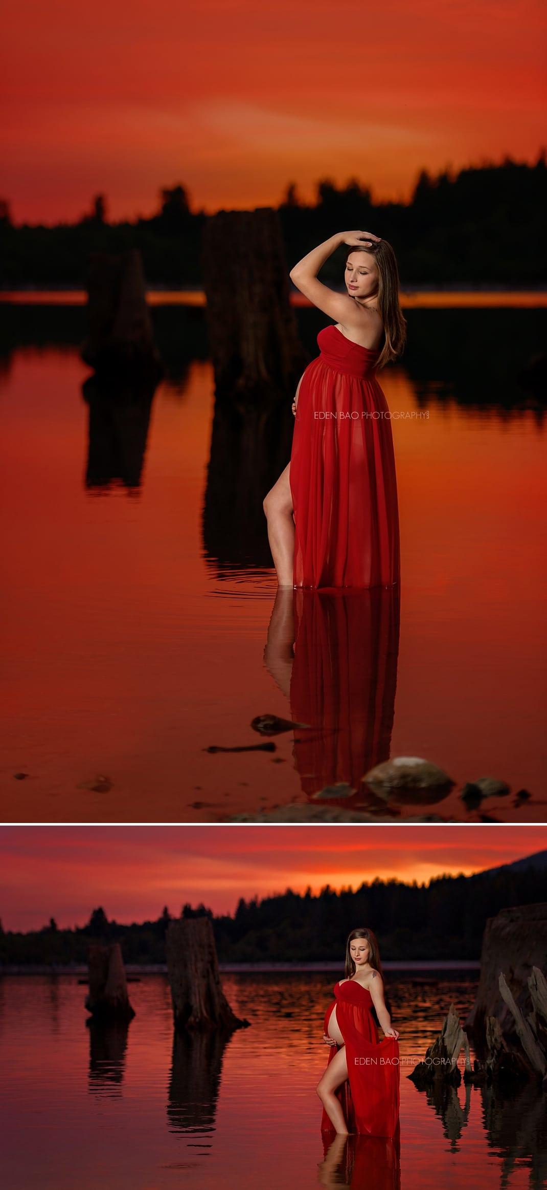 Mukilteo maternity photographer Sierra Rattlesnake Lake sunset