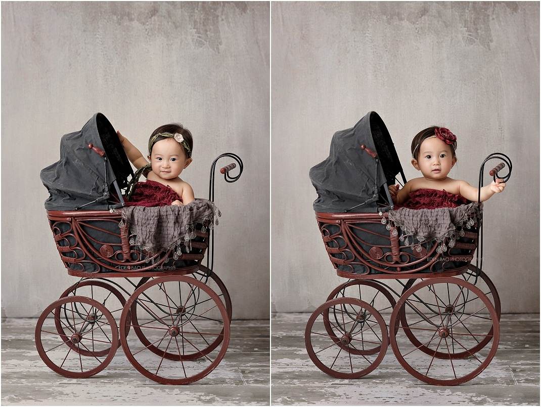 Baby Bothell Photographer vintage carriage