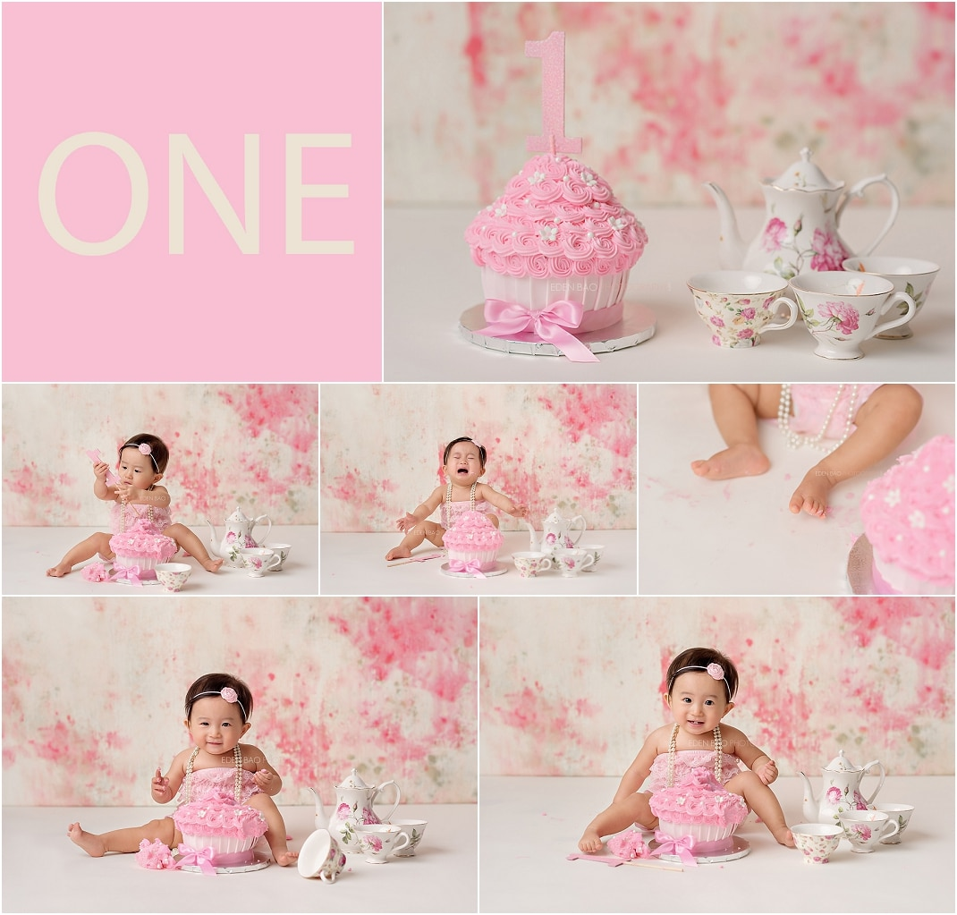 Bothell Baby Photographer Cake Smash Pink Tea Party