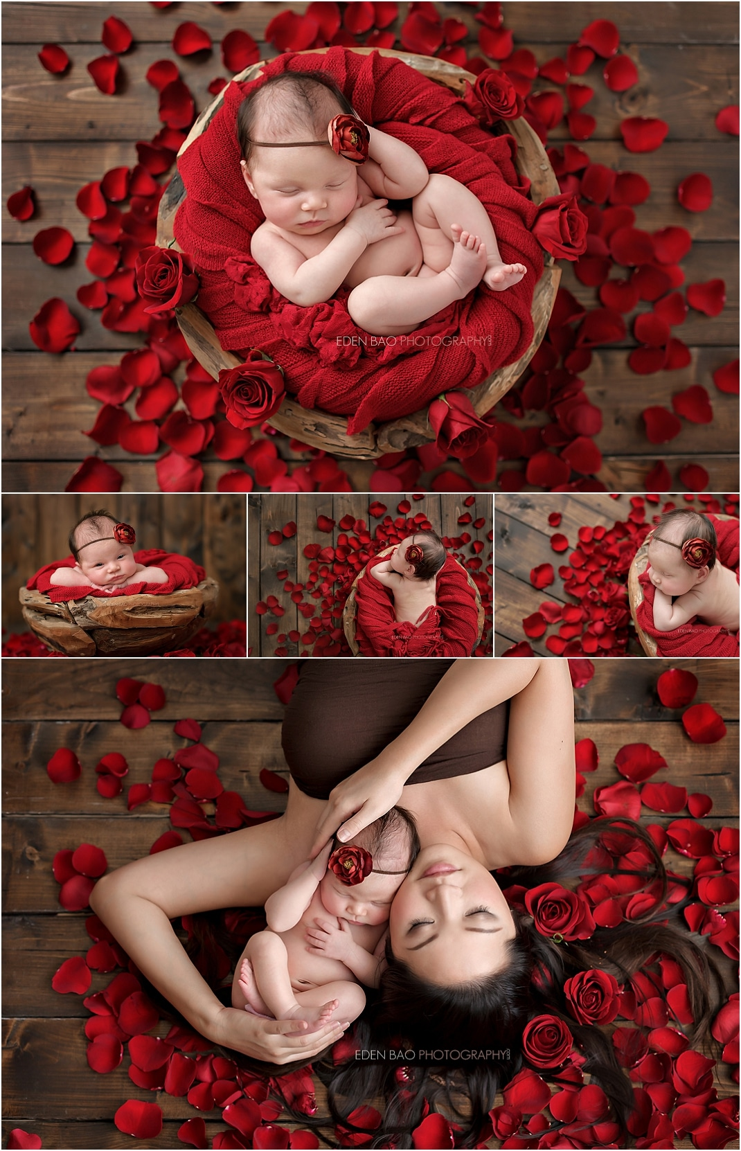 Newborn Photographer Northwest Seattle red rose petals