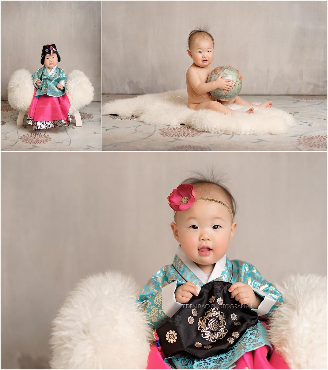Kirkland baby photographer Korean hanbok