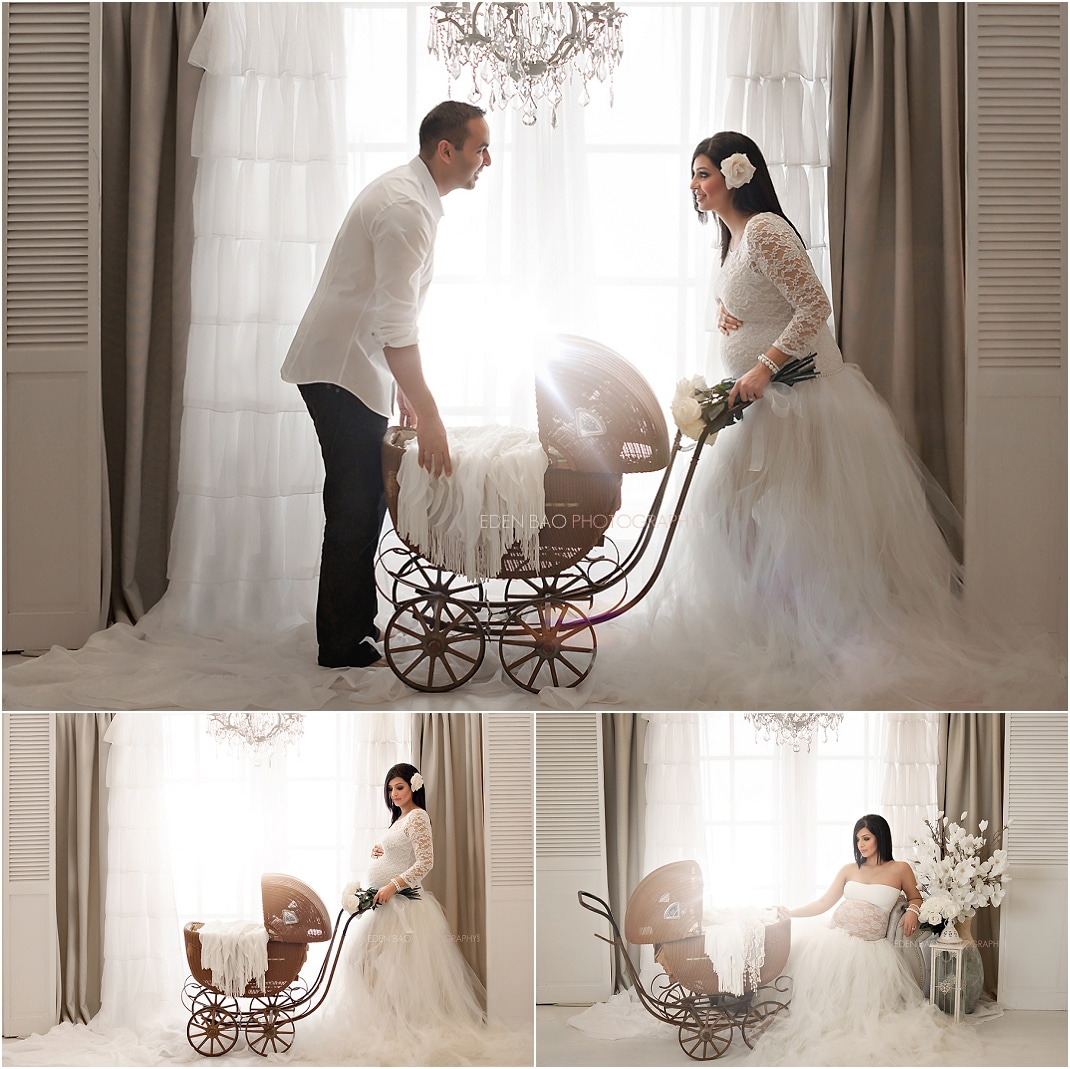 Kirkland Maternity Photographer French Doors Chandeliers baby carriage