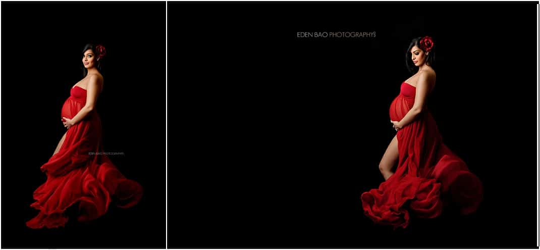 Kirkland Maternity Photographer flowing red dress