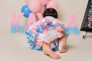 Kayla 1 Yr Celebration birthday cake smash session Seattle Baby Photography