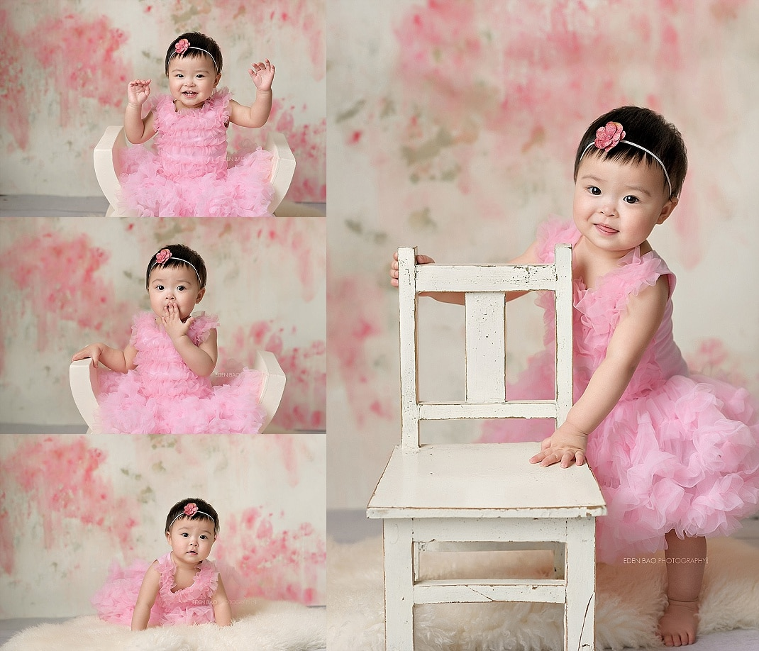 snohomish baby photographer baby toddler with pink dress
