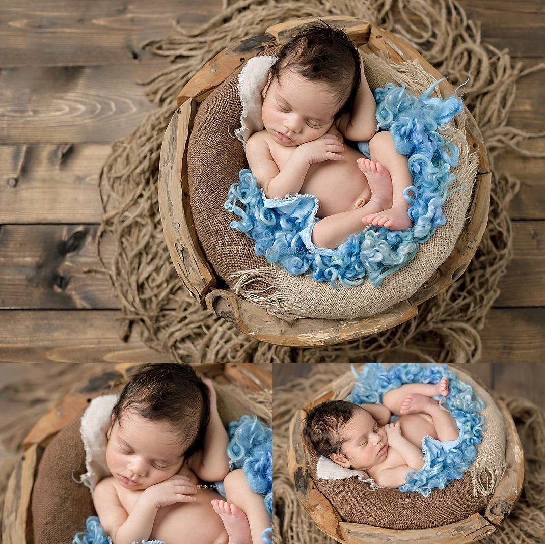 Duvall newborn photographer baby in wood basket