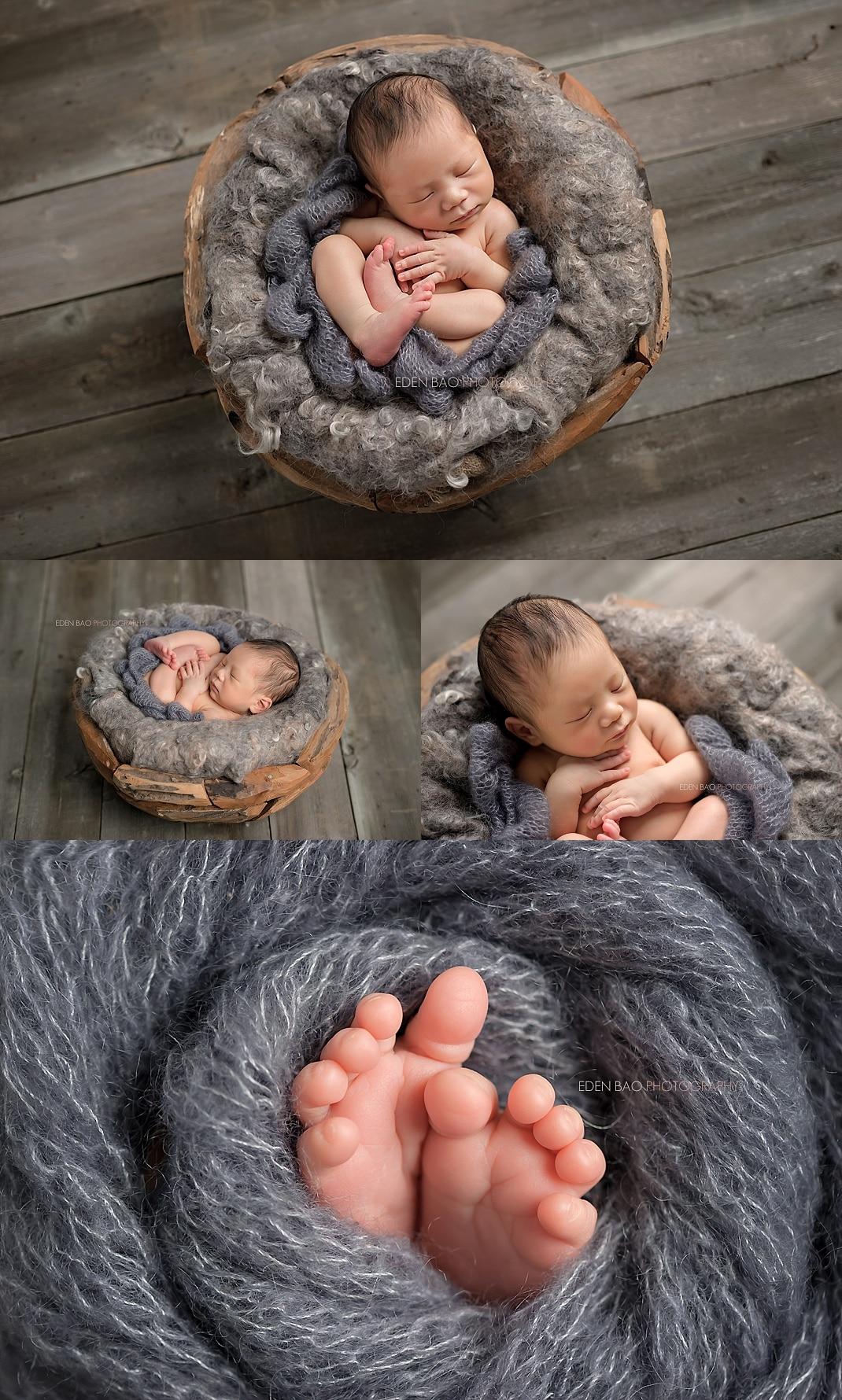 renton-newborn-photographer-baby-with-grey-blanket