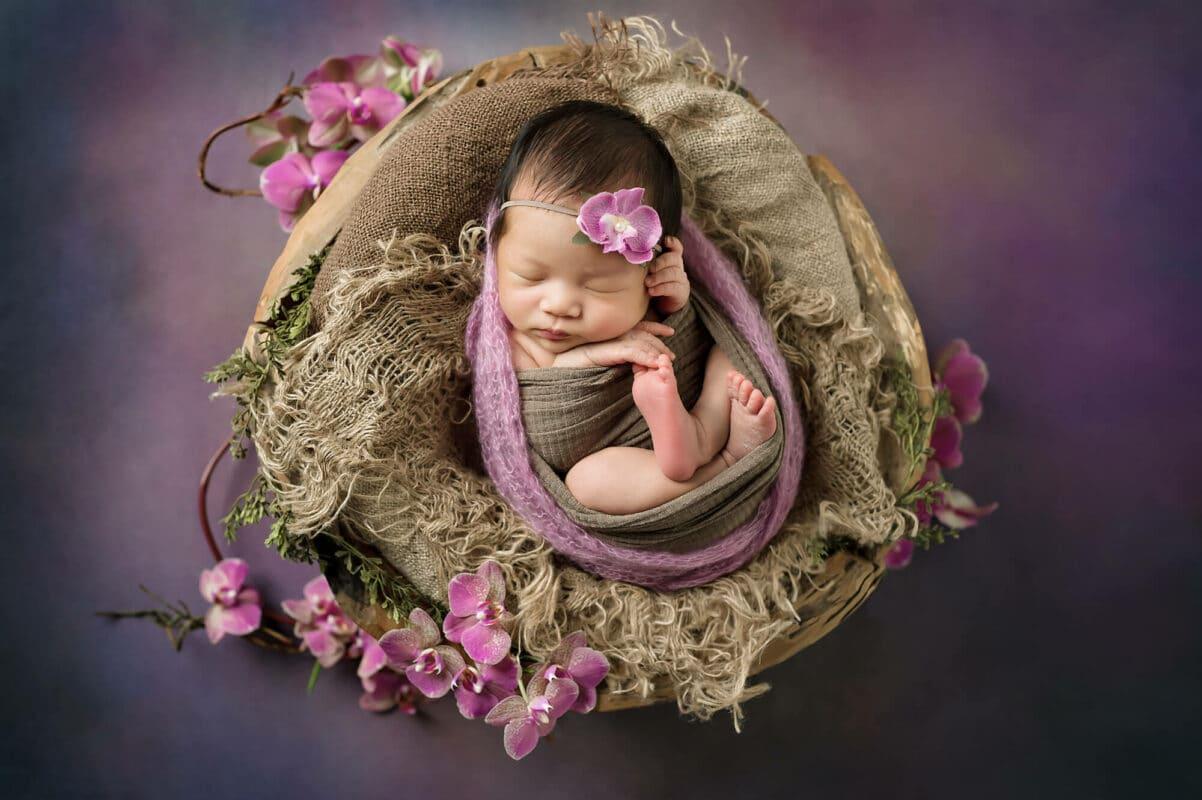 Kirkland Newborn Photographer Orchids Purple