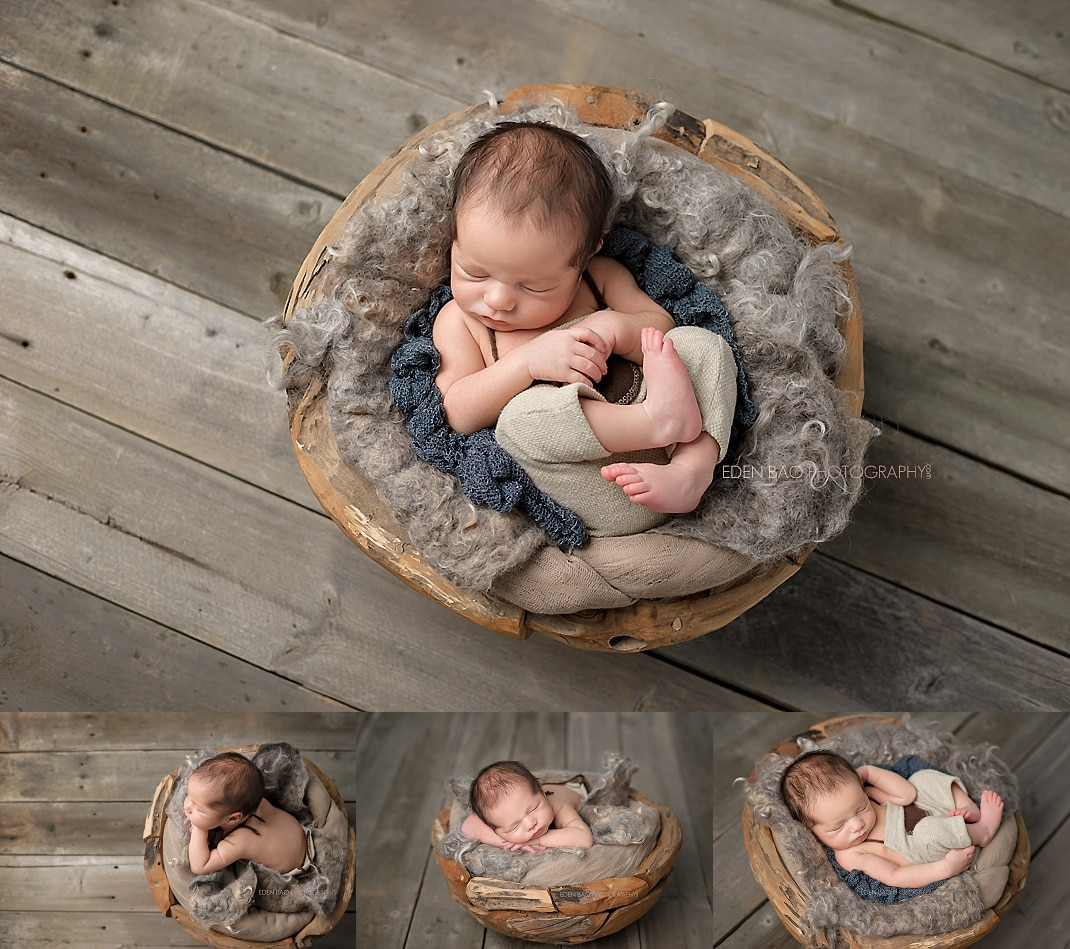 Snohomish newborn photographer baby in wooden basket