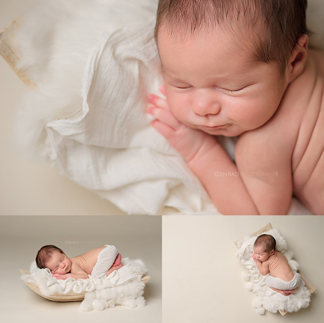 Snohomish newborn photographer baby on white fur