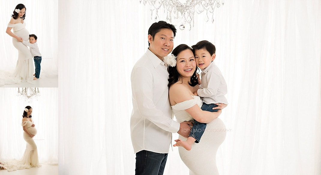 bellevue maternity photographer family photos with white backdrop
