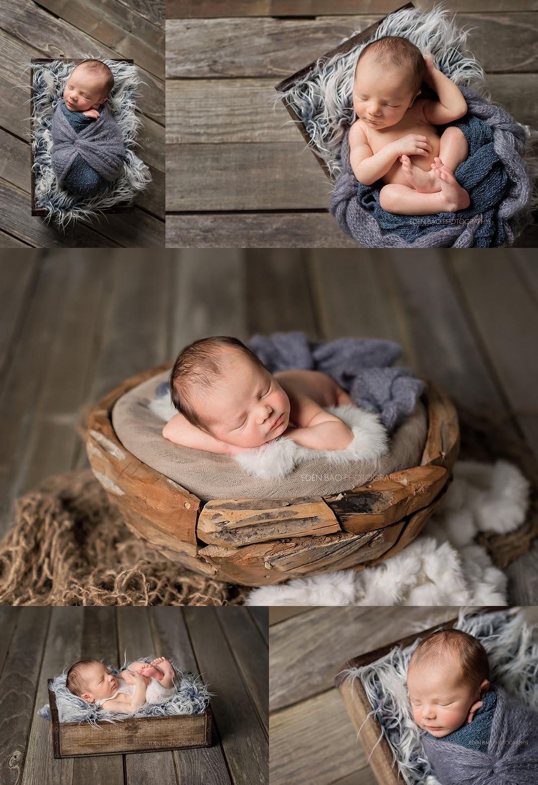 Snohomish Newborn Photographer Newborn Boy Wooden Box