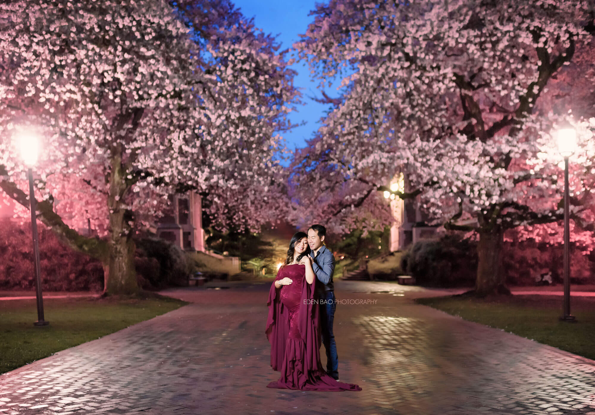 Cherry blossom maternity Quad Seattle photographer