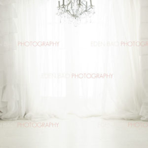 White Curtains Chandelier Window Overlay