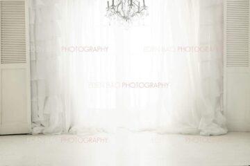 White Curtains Chandelier Window Overlay