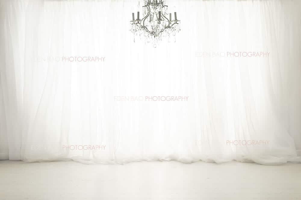 White Curtains Chandelier