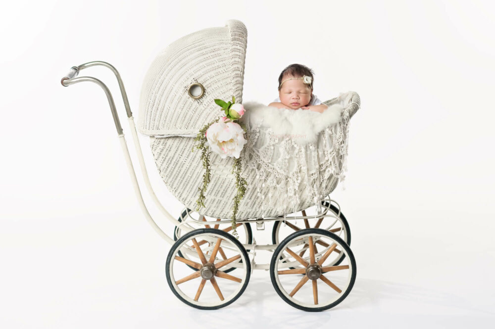 Newborn Vintage White Baby Carriage