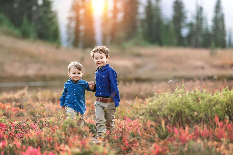 Autumn Mt Rainier Children Portrait by Eden Bao