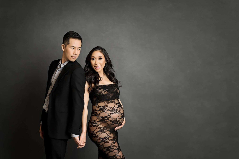 Black Lace Tube Maternity Dress