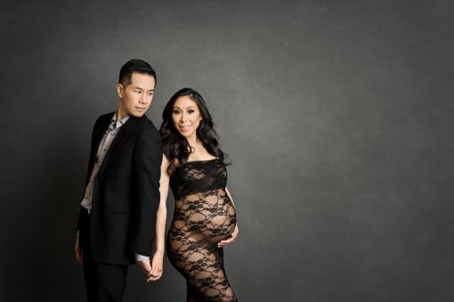 Black Lace Tube Maternity Dress