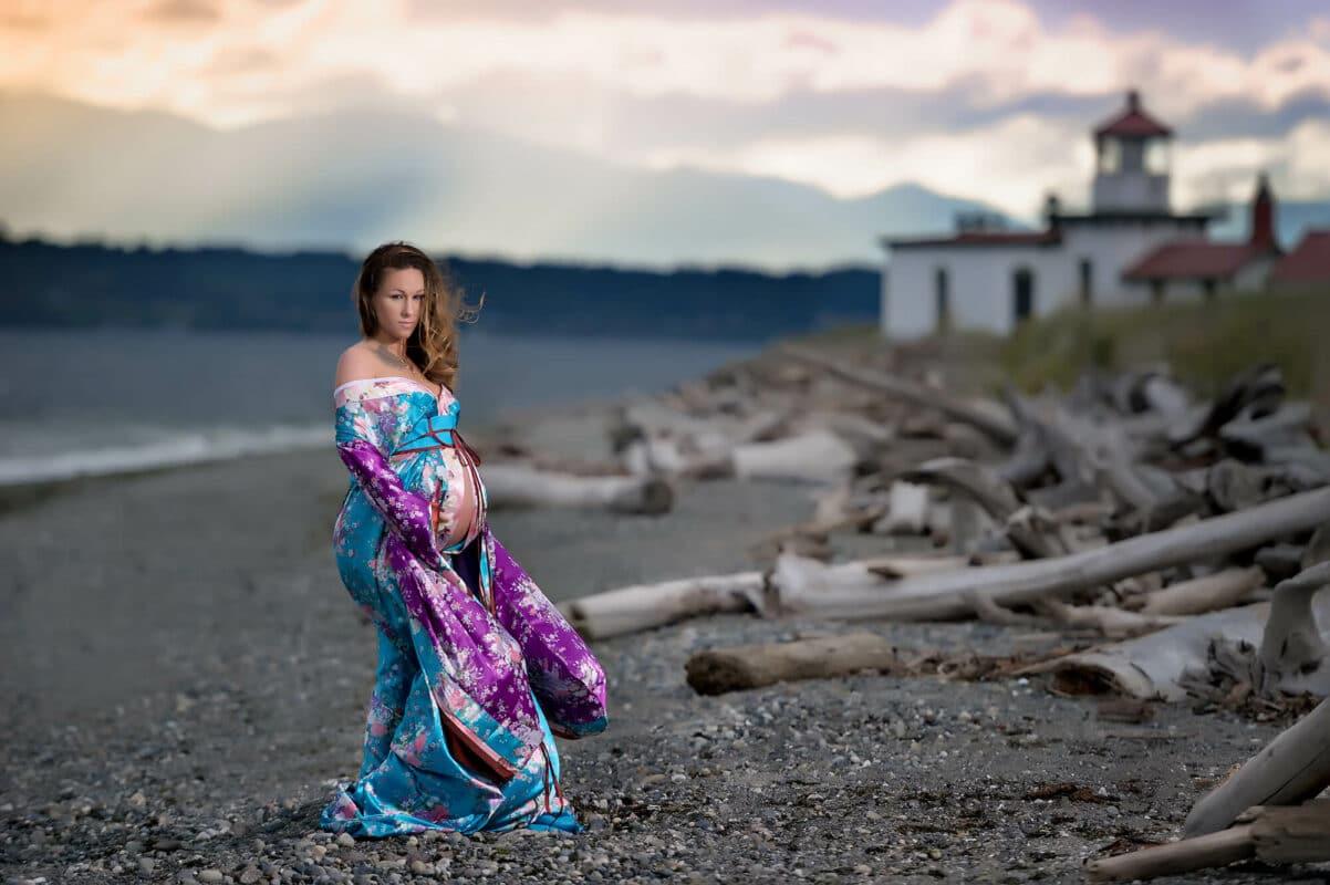Blue Purple Maternity Kimono